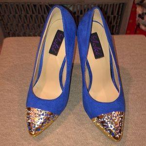 Blue Suede Gold Toe Pumps